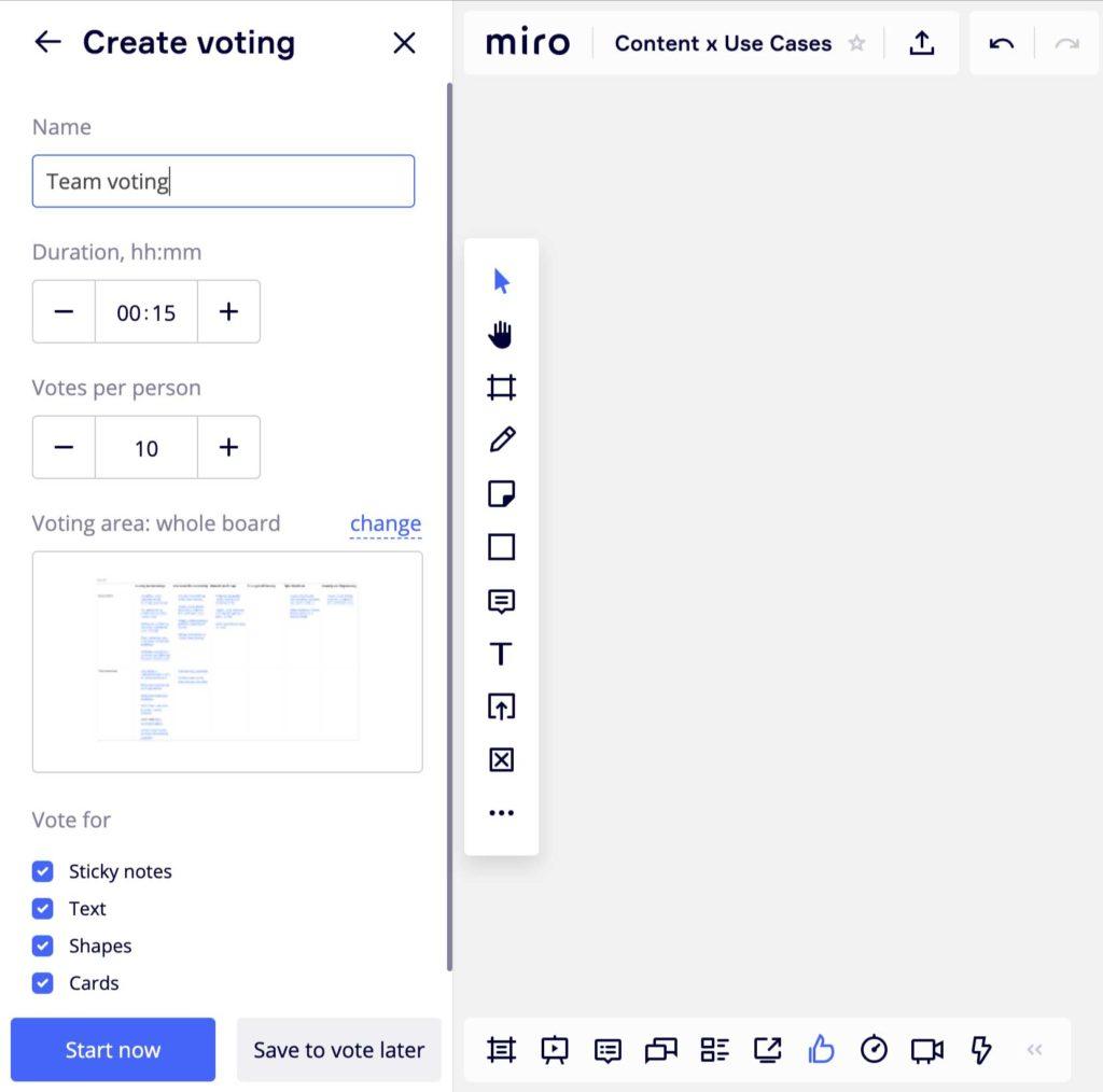 Głosowanie w Miro i dostępne opcje